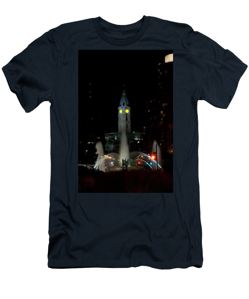 Philadelphia City Hall And Swann Fountain At Night Men's T-Shirt (Athletic Fit) featuring the photograph Philadelphia City Hall And Swann Fountain At Night by Bill Cannon