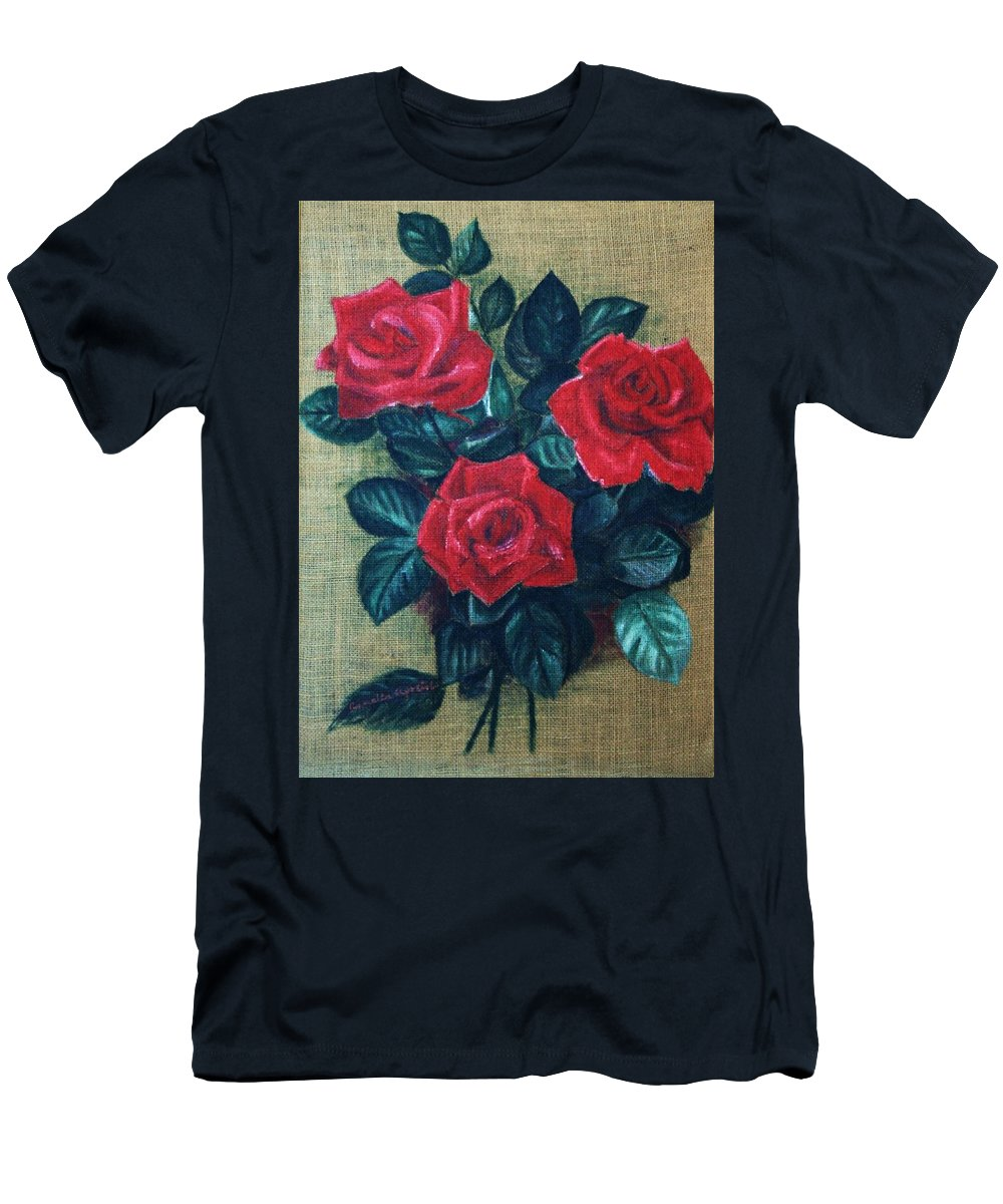 Still Life Men's T-Shirt (Athletic Fit) featuring the painting Roses by Camelia Apostol