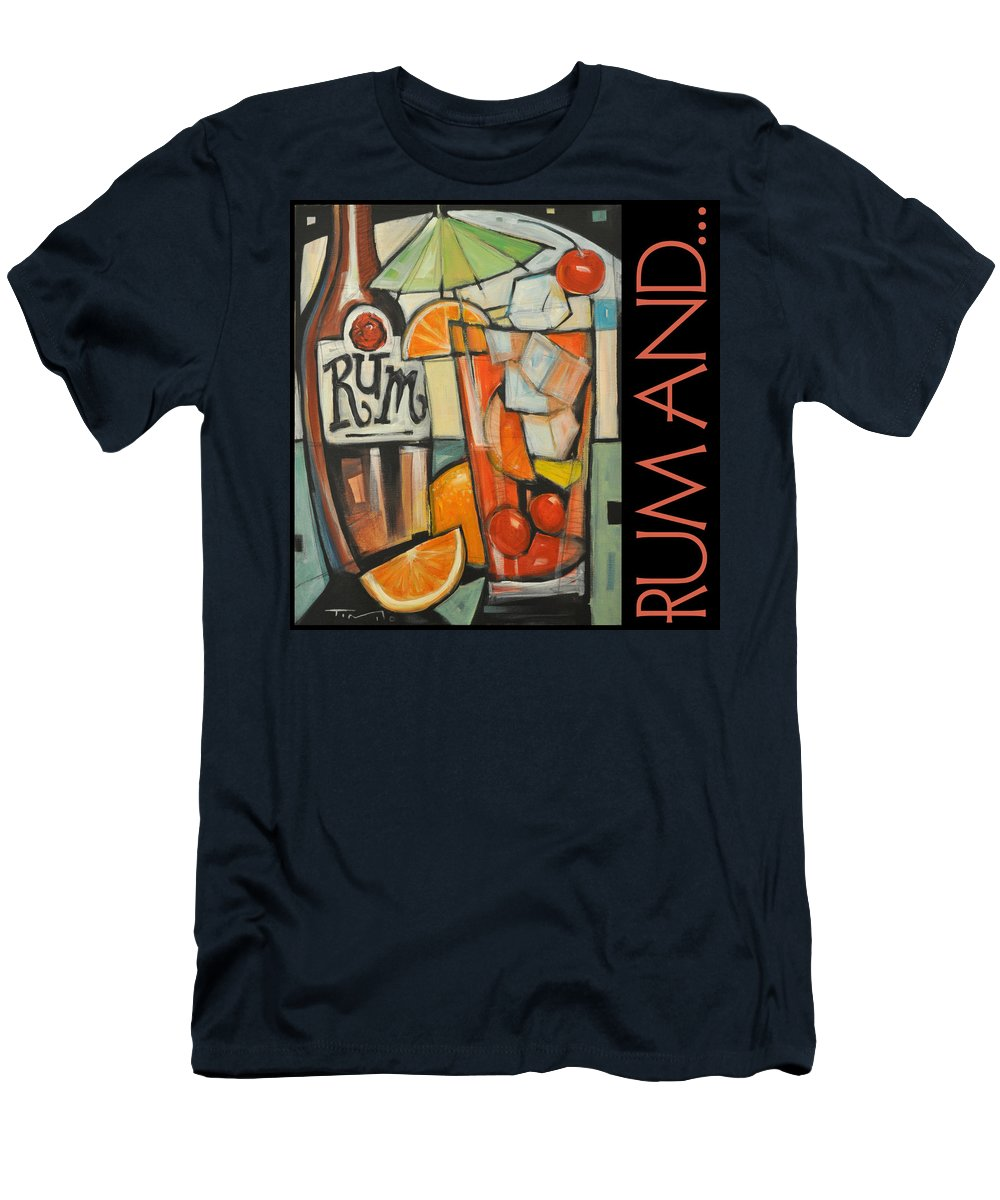 Beverage Men's T-Shirt (Athletic Fit) featuring the painting Rum And Poster by Tim Nyberg