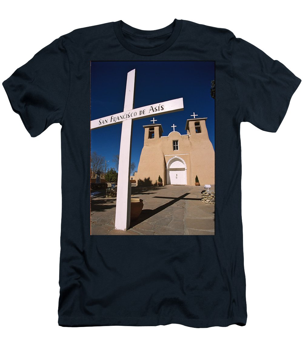 Taos Men's T-Shirt (Athletic Fit) featuring the photograph San Francisco De Asis by Ron Weathers