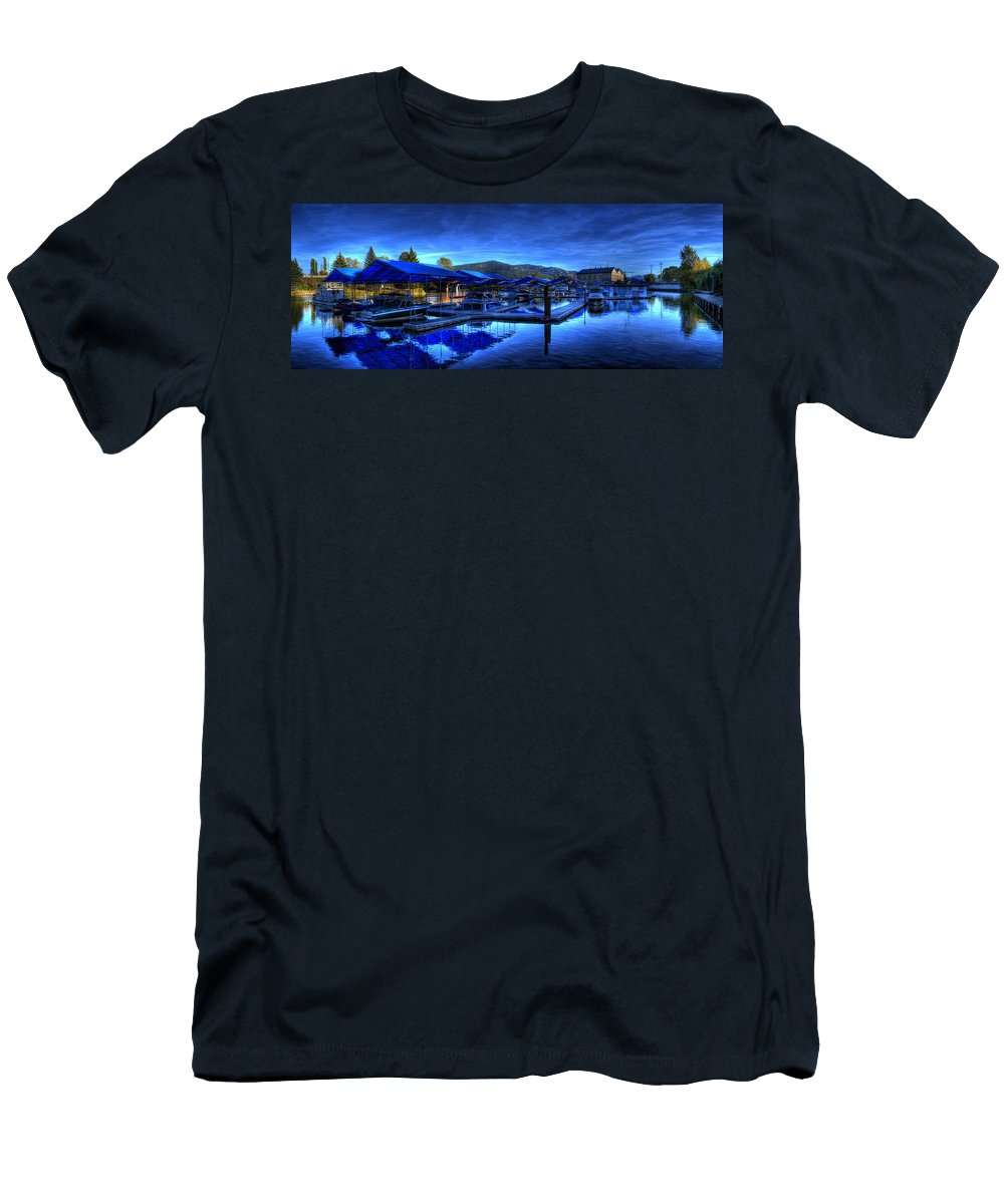 Landscape Men's T-Shirt (Athletic Fit) featuring the photograph Sandpoint Marina And Power House 3 by Lee Santa