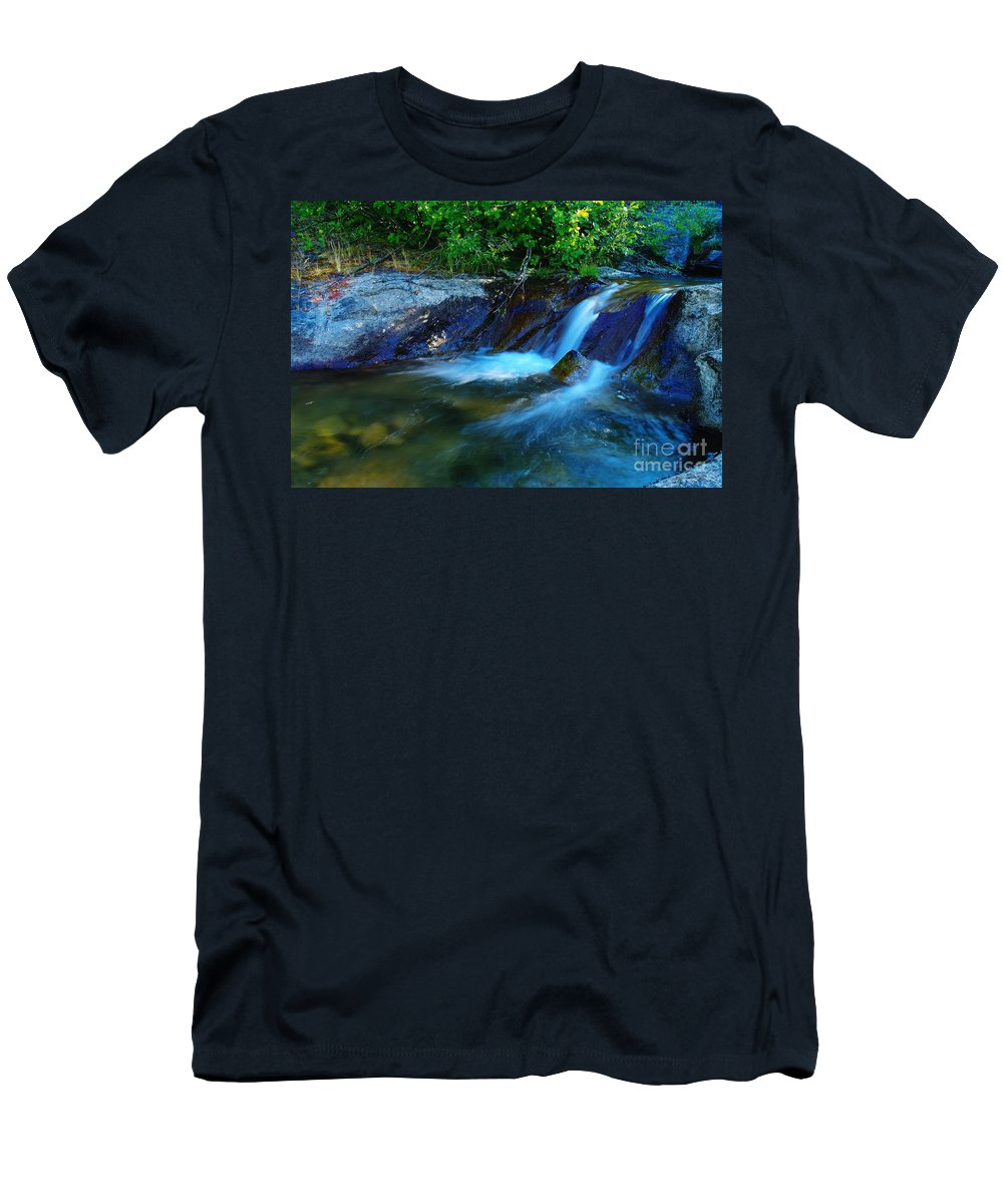 Water Men's T-Shirt (Athletic Fit) featuring the photograph Small Blue Water by Jeff Swan