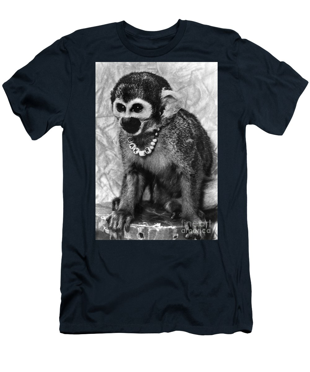1959 Men's T-Shirt (Athletic Fit) featuring the photograph Space Monkey: Baker, 1979 by Granger