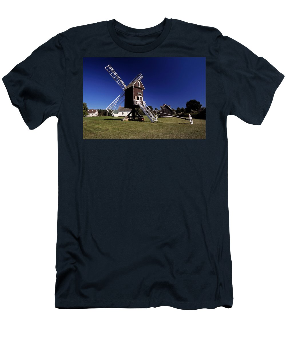 Spocott Windmill Men's T-Shirt (Athletic Fit) featuring the photograph Spocott Windmill by Sally Weigand