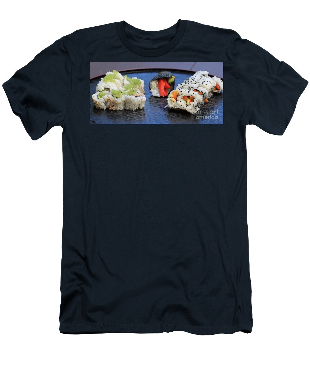 Food Men's T-Shirt (Athletic Fit) featuring the photograph Sushi California Roll by Henrik Lehnerer