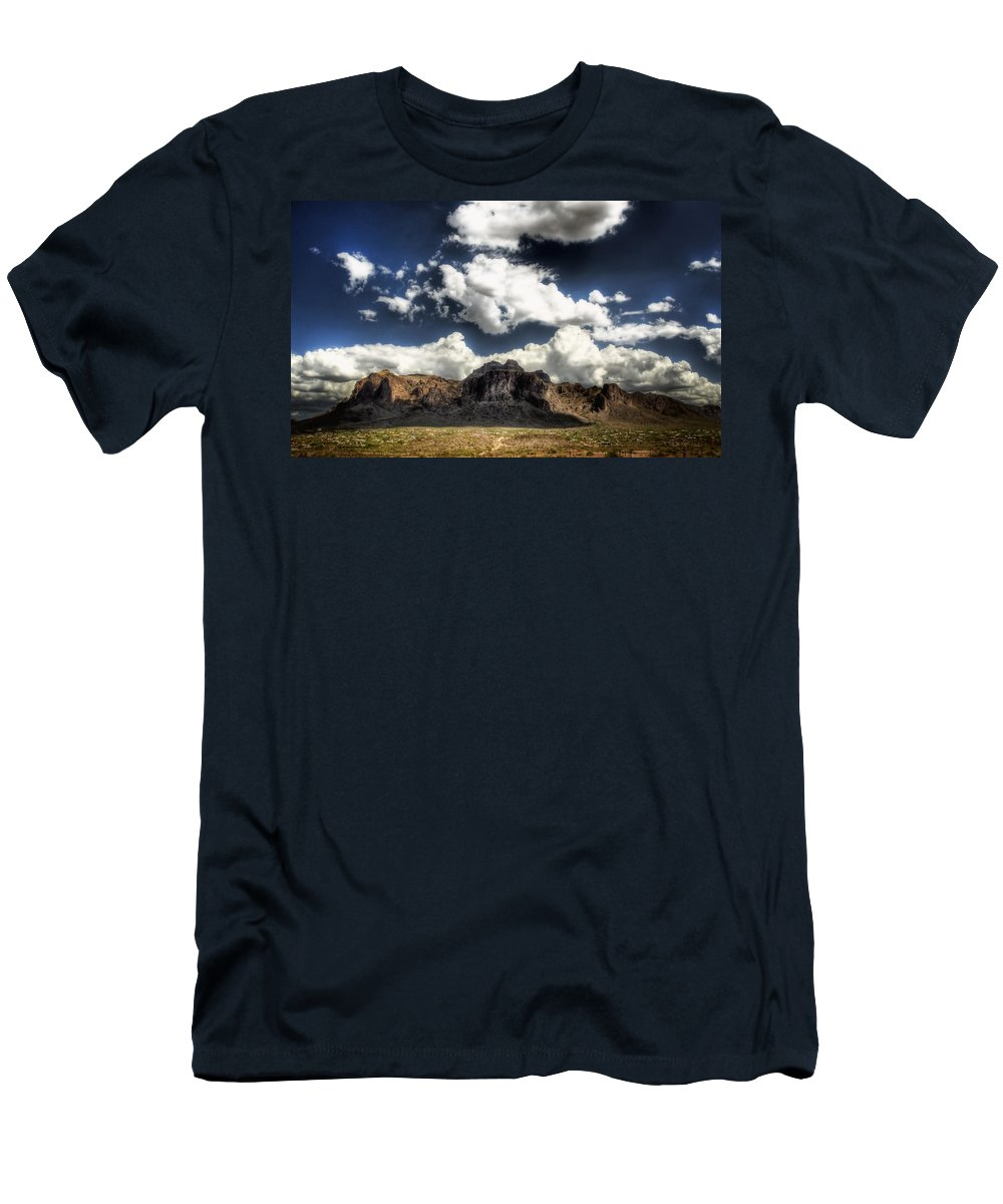 Superstition Mountains Men's T-Shirt (Athletic Fit) featuring the photograph The Splendor Of The Superstitions by Saija Lehtonen