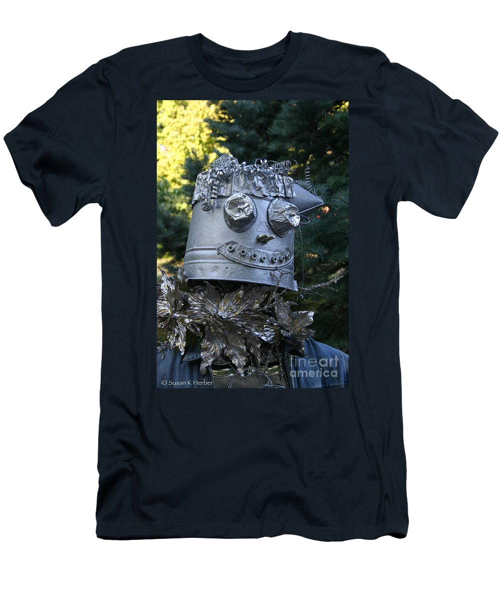 Fall Men's T-Shirt (Athletic Fit) featuring the photograph Tinman Scarecrow by Susan Herber