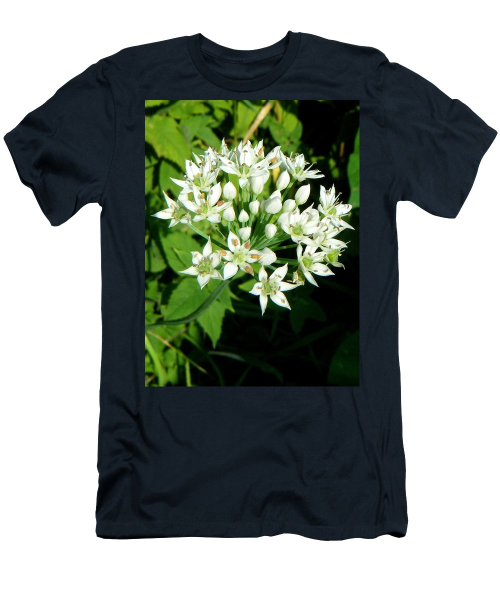 Landscapes Men's T-Shirt (Athletic Fit) featuring the photograph Tiny White Flowers by April Patterson