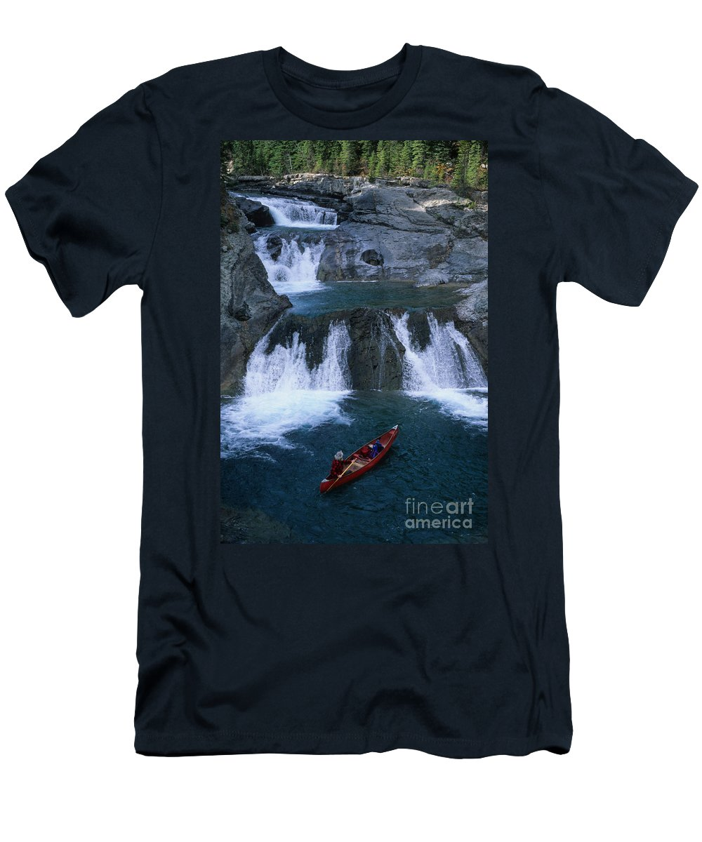 Sheep River Men's T-Shirt (Athletic Fit) featuring the photograph Triple Falls by Bob Christopher