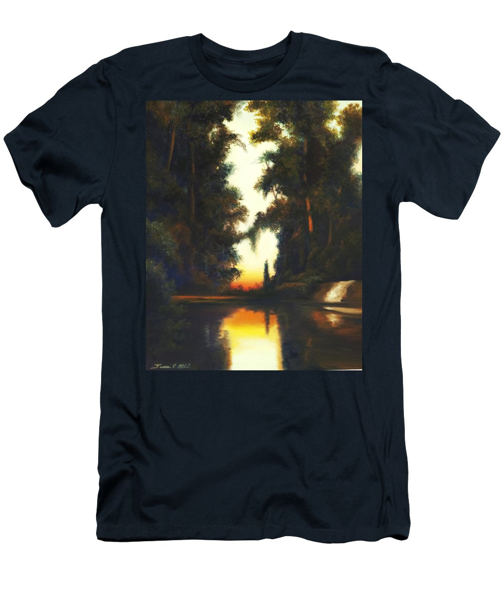 Nature; Lake; Sunset; Sunrise; Serene; Forest; Trees; Water; Ripples; Clearing; Lagoon; James Christopher Hill; Jameshillgallery.com; Foliage; Sky; Realism; Oils T-Shirt featuring the painting Turner's Sunset by James Christopher Hill