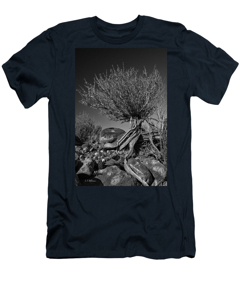 Monotone Men's T-Shirt (Athletic Fit) featuring the photograph Twisted Beauty - Bw by Christopher Holmes