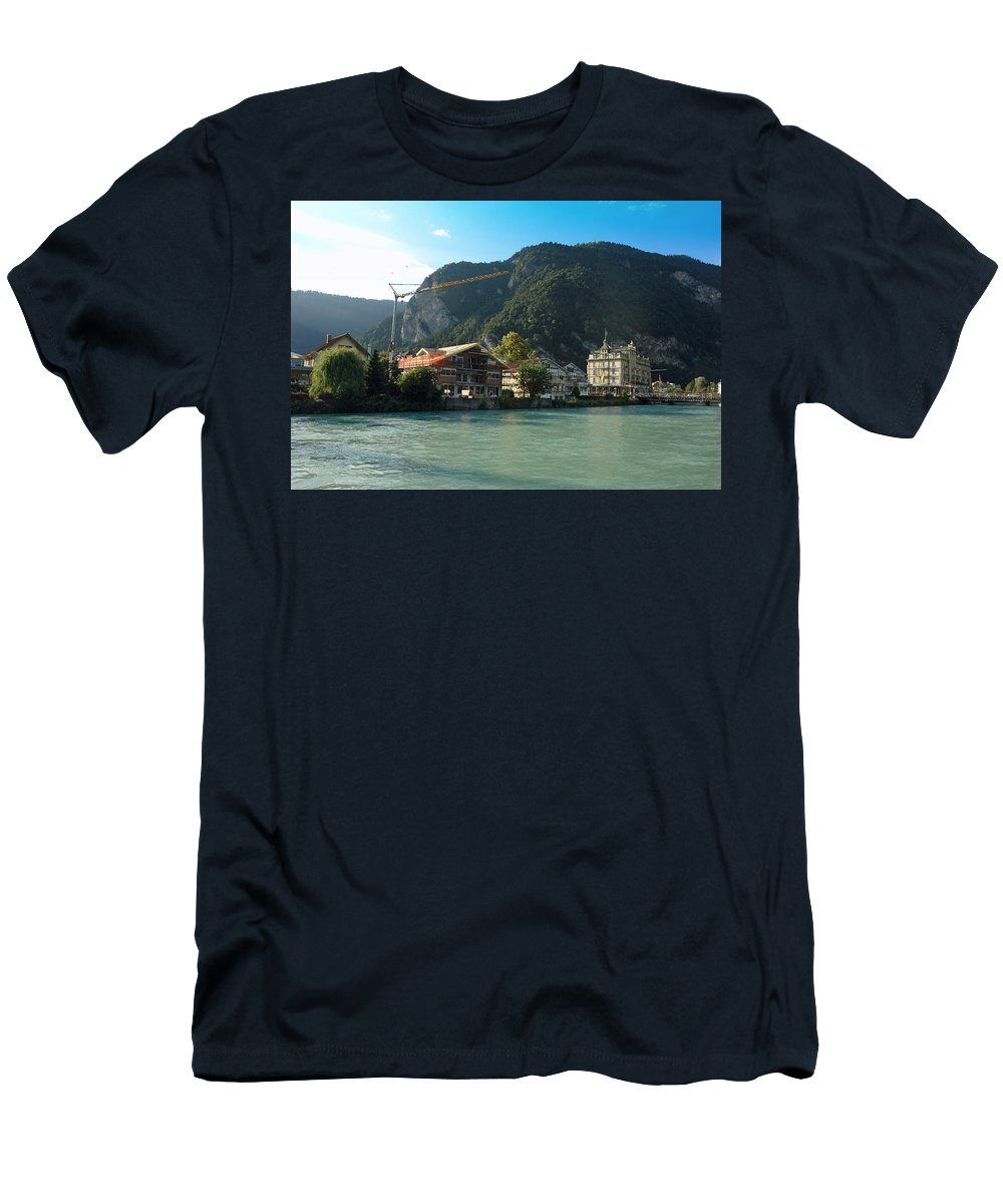 Switzerland Men's T-Shirt (Athletic Fit) featuring the photograph View Of Interlaken Across The Stream by Ashish Agarwal