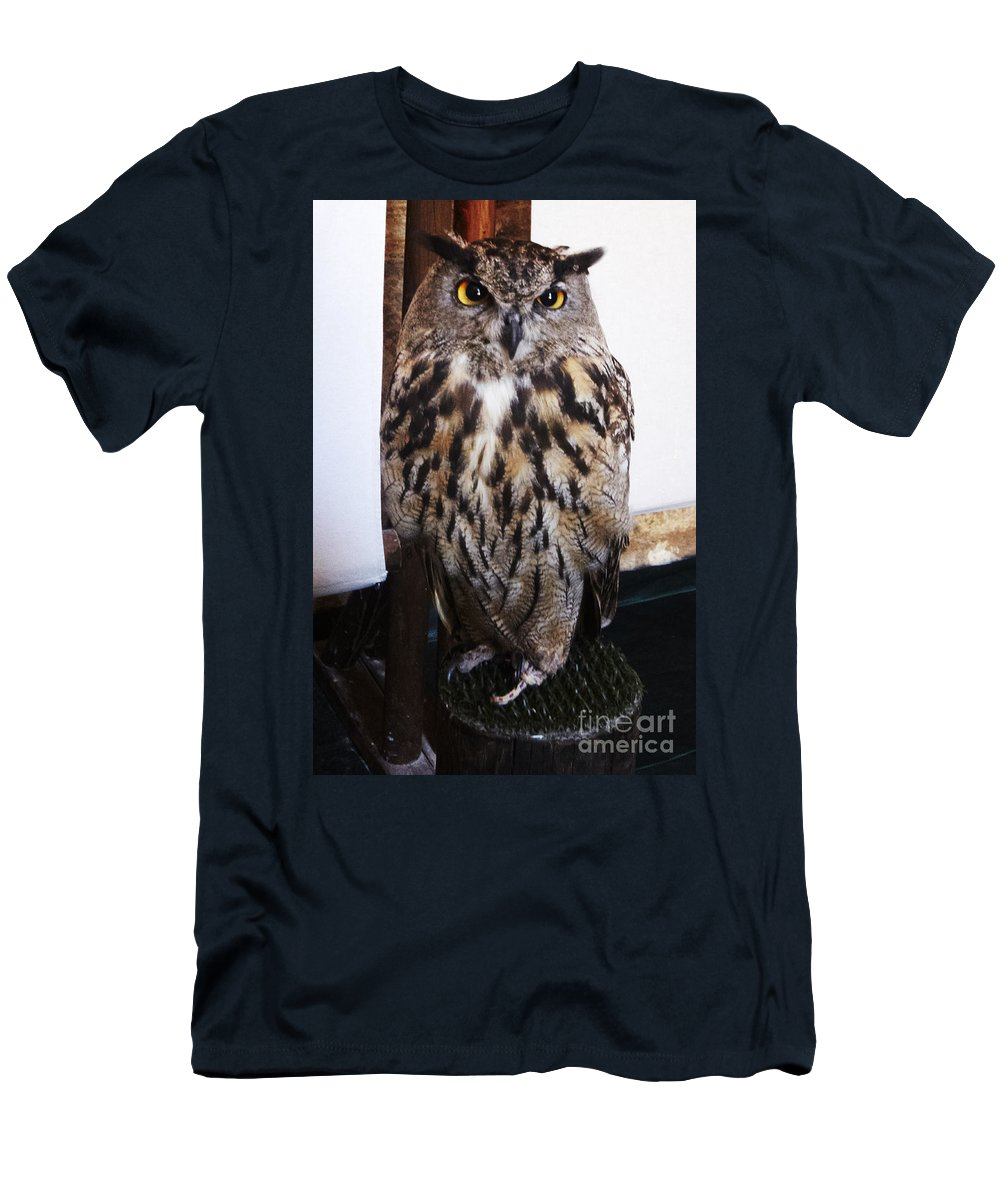 Buho Men's T-Shirt (Athletic Fit) featuring the photograph Yellow Owl Eyes by Agusti Pardo Rossello