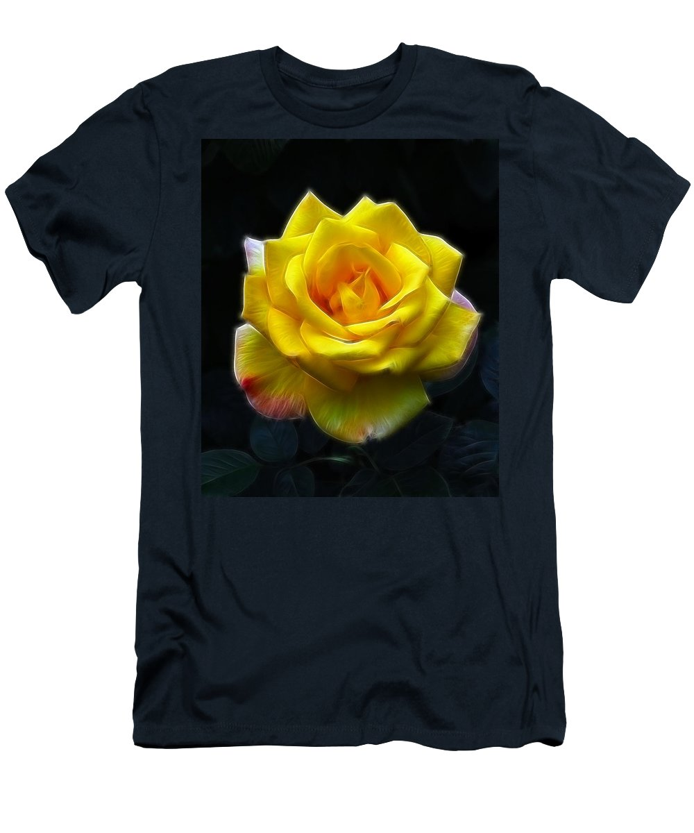 Yellow Rose In The Moonlight.rose Men's T-Shirt (Athletic Fit) featuring the photograph Yellow Rose In The Moonlight by Georgiana Romanovna