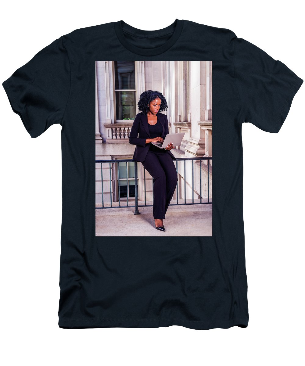 African Men's T-Shirt (Athletic Fit) featuring the photograph African American Businesswoman Working In New York by Alexander Image