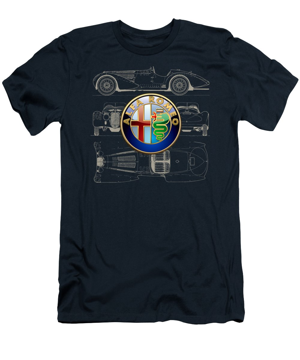 �wheels Of Fortune� By Serge Averbukh Men's T-Shirt (Athletic Fit) featuring the photograph Alfa Romeo 3 D Badge Over 1938 Alfa Romeo 8 C 2900 B Vintage Blueprint by Serge Averbukh