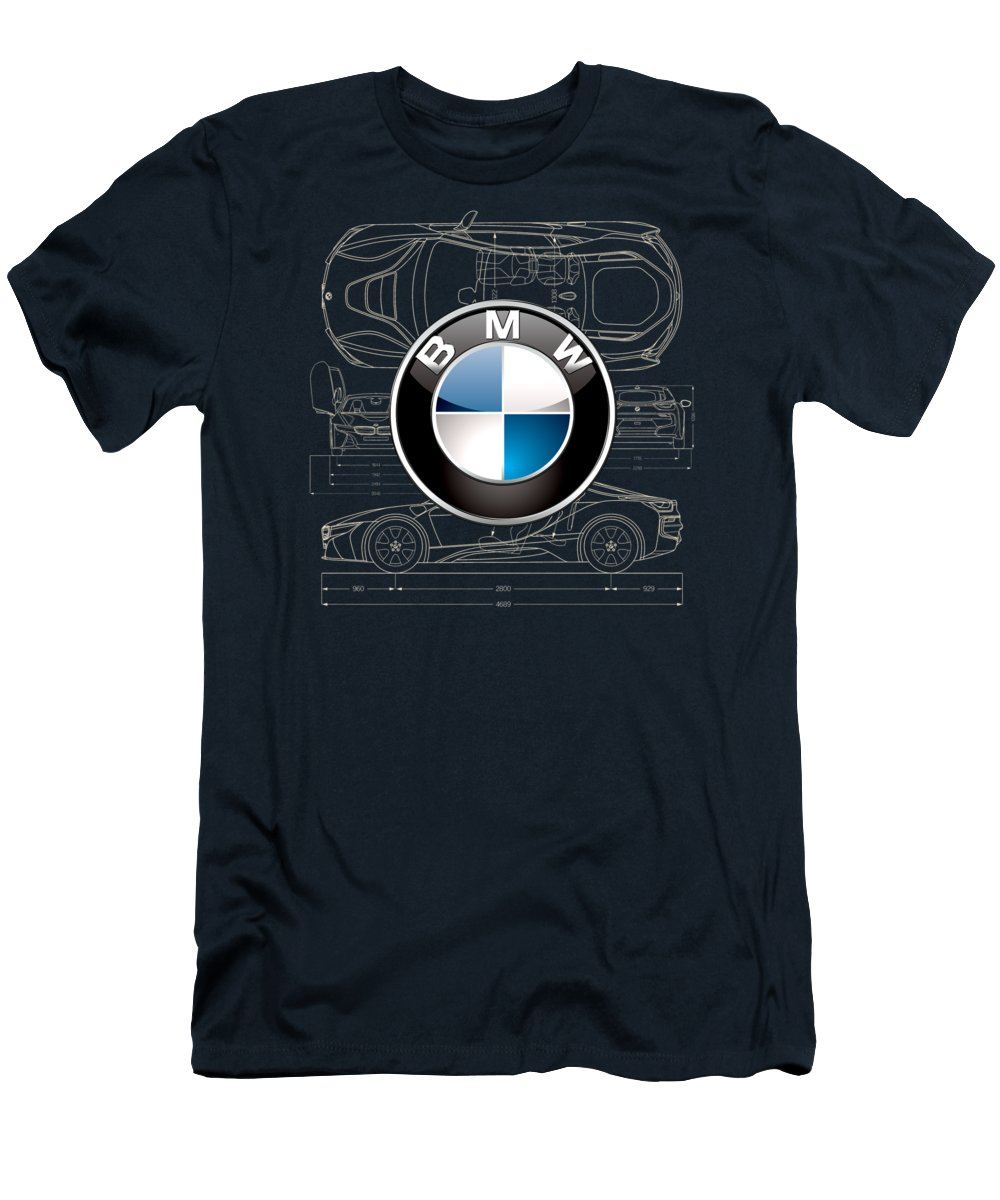 �wheels Of Fortune� By Serge Averbukh T-Shirt featuring the photograph B M W 3 D Badge over B M W i8 Blueprint by Serge Averbukh