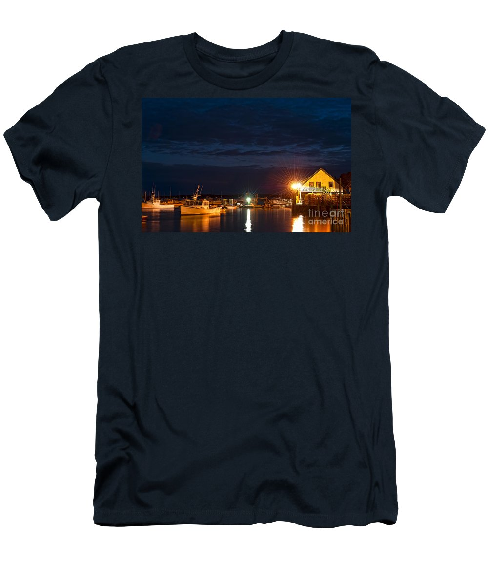 Bass Harbor Men's T-Shirt (Athletic Fit) featuring the photograph Bass Harbor At Night by John Greim