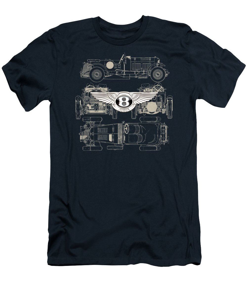 �wheels Of Fortune� By Serge Averbukh T-Shirt featuring the photograph Bentley - 3 D Badge over 1930 Bentley 4.5 Liter Blower Vintage Blueprint by Serge Averbukh