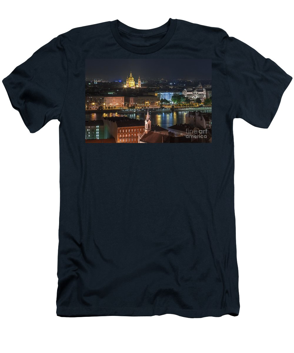 Budapest Men's T-Shirt (Athletic Fit) featuring the photograph Budapest, Danube River, Hungary by Babak Tafreshi