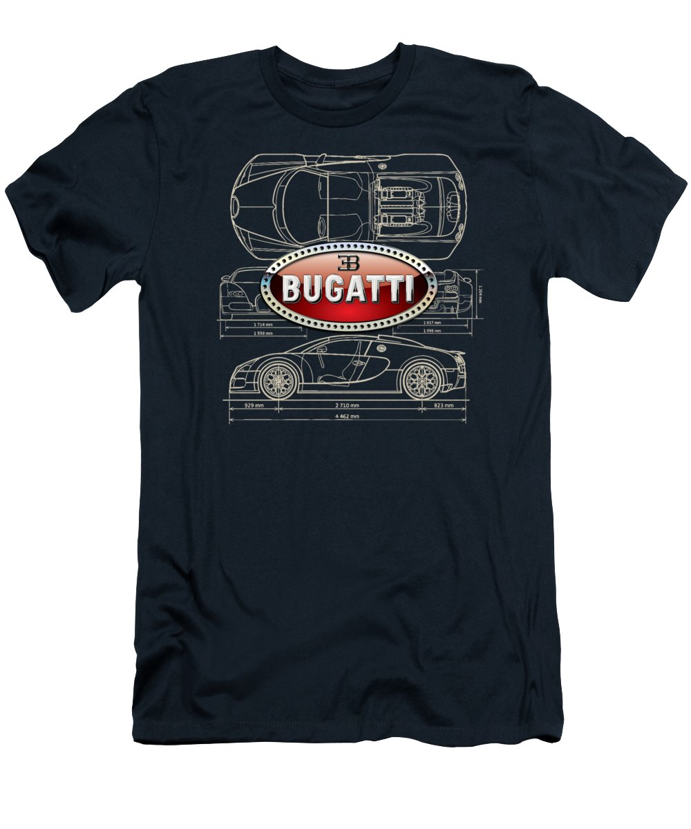 �wheels Of Fortune� By Serge Averbukh Men's T-Shirt (Athletic Fit) featuring the photograph Bugatti 3 D Badge Over Bugatti Veyron Grand Sport Blueprint by Serge Averbukh