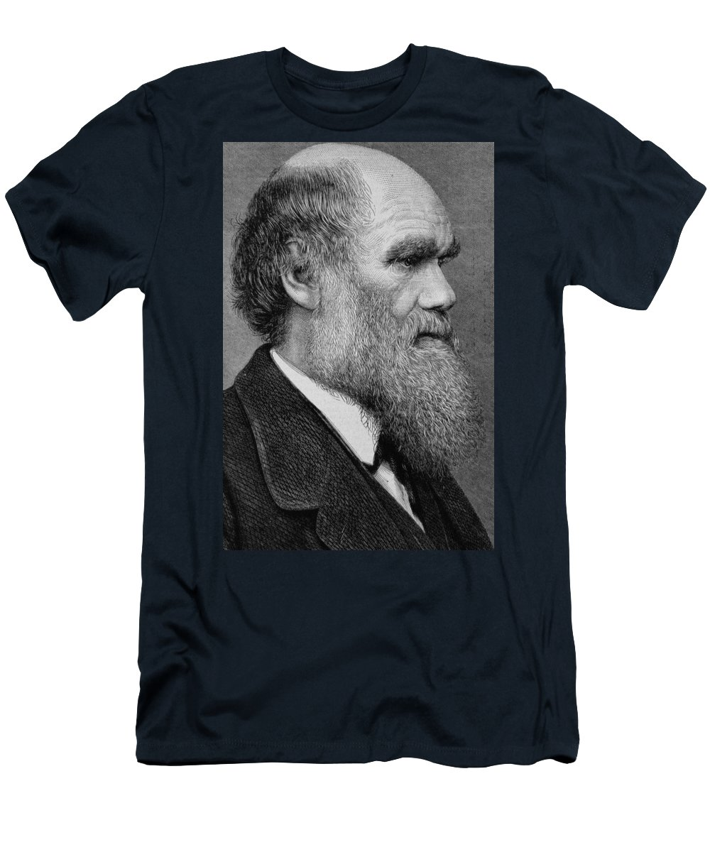 Darwin Men's T-Shirt (Athletic Fit) featuring the photograph Charles Darwin by English School