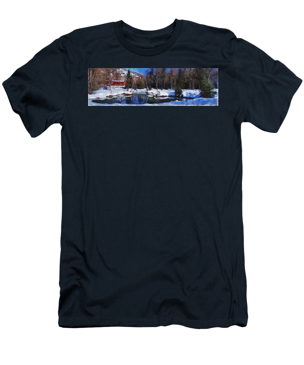 Chena Hot Springs Alaska Fairbanks Snow Tree Sky Blue Lake Chena Hot Springs Alaska Fairbanks Snow Tree Sky Blue Lake Framed Prints T-Shirt featuring the photograph Chena hot springs by Galeria Trompiz