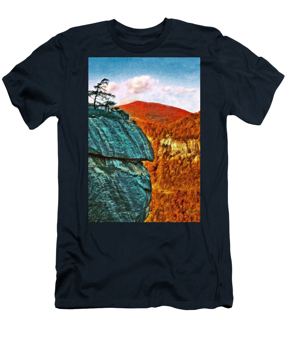 Landscape Men's T-Shirt (Athletic Fit) featuring the painting Chimney Rock by Steve Karol