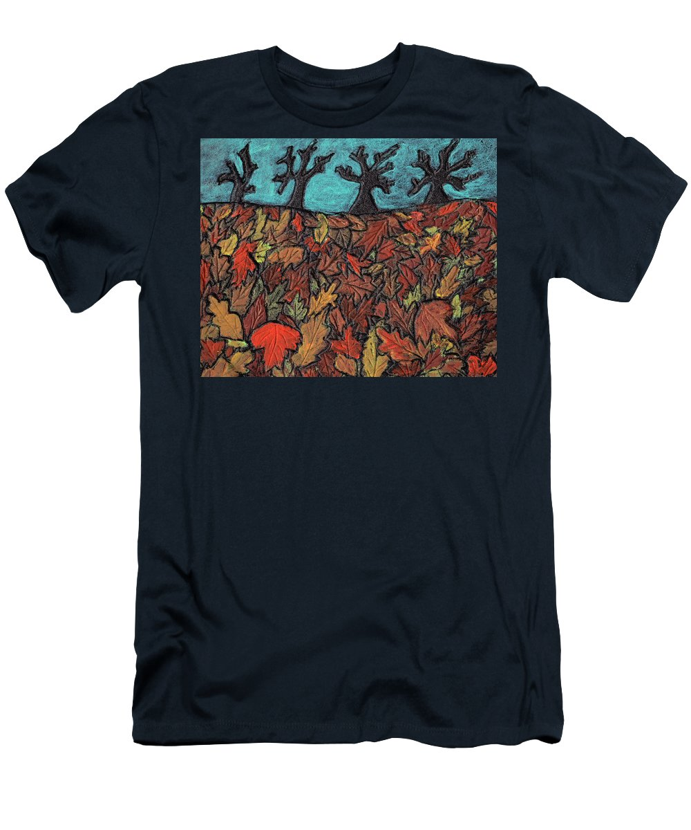 Leaves Men's T-Shirt (Athletic Fit) featuring the painting Finding Autumn Leaves by Wayne Potrafka