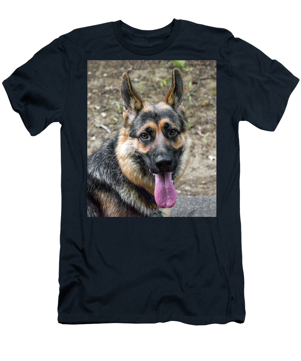 Dog Men's T-Shirt (Athletic Fit) featuring the photograph German Shepherd by Alex Galkin