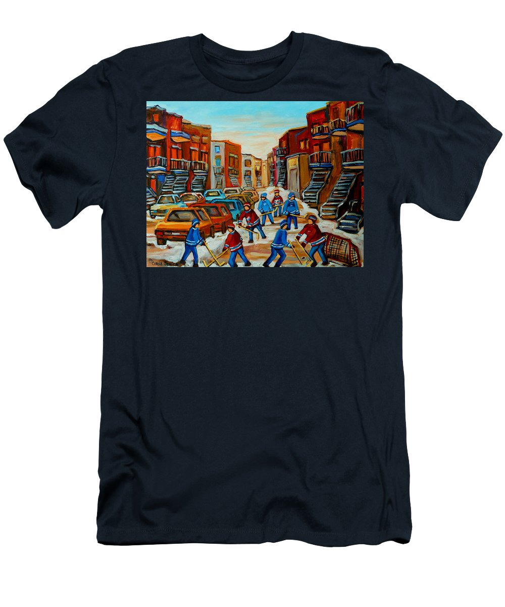 Heat Of The Game Men's T-Shirt (Athletic Fit) featuring the painting Heat Of The Game by Carole Spandau