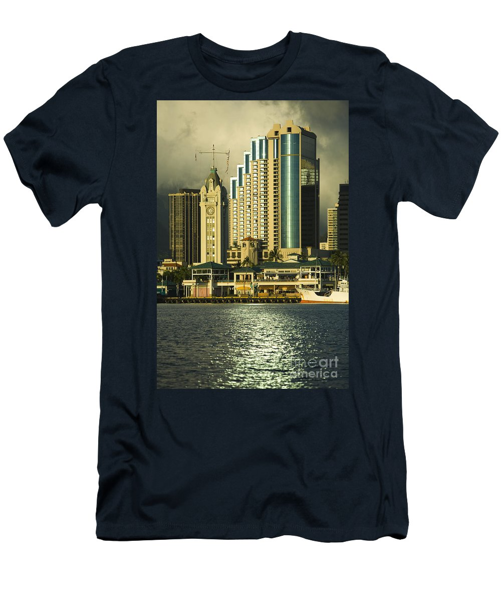 Afternoon Men's T-Shirt (Athletic Fit) featuring the photograph Honolulu Harbor by Dana Edmunds - Printscapes