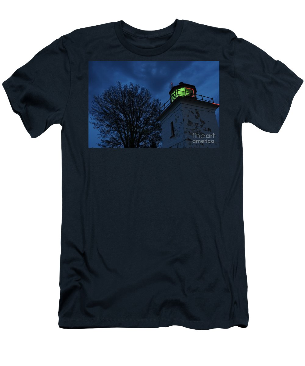 Beacon Men's T-Shirt (Athletic Fit) featuring the photograph Lighthouse At Night by Joe Ng