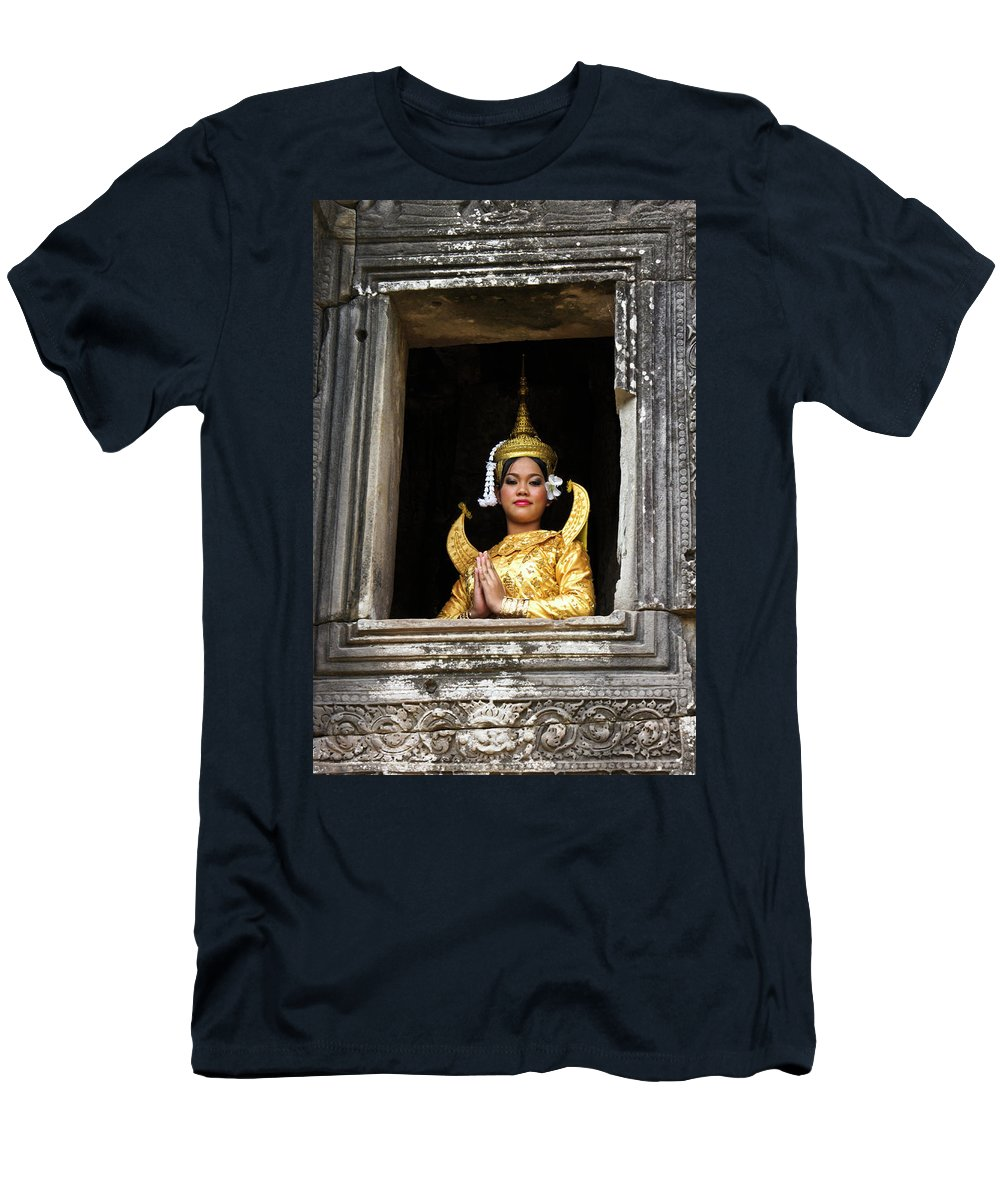 Asia Men's T-Shirt (Athletic Fit) featuring the photograph Makala Dancer In Cambodia by Michele Burgess