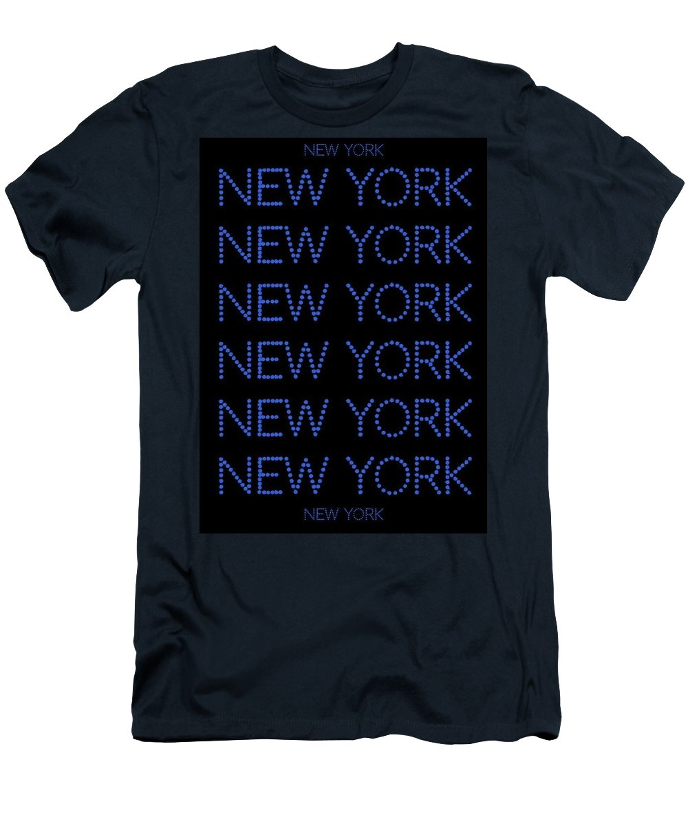 New York Men's T-Shirt (Athletic Fit) featuring the digital art New York - Blue On Black Background by LogCabinCottage