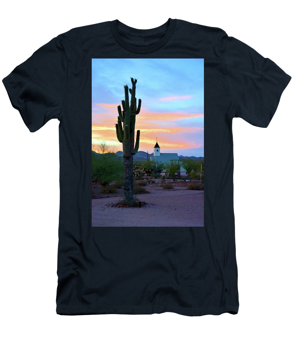 Scenic Men's T-Shirt (Athletic Fit) featuring the photograph Saguaro Cactus And Church by Richard Jenkins