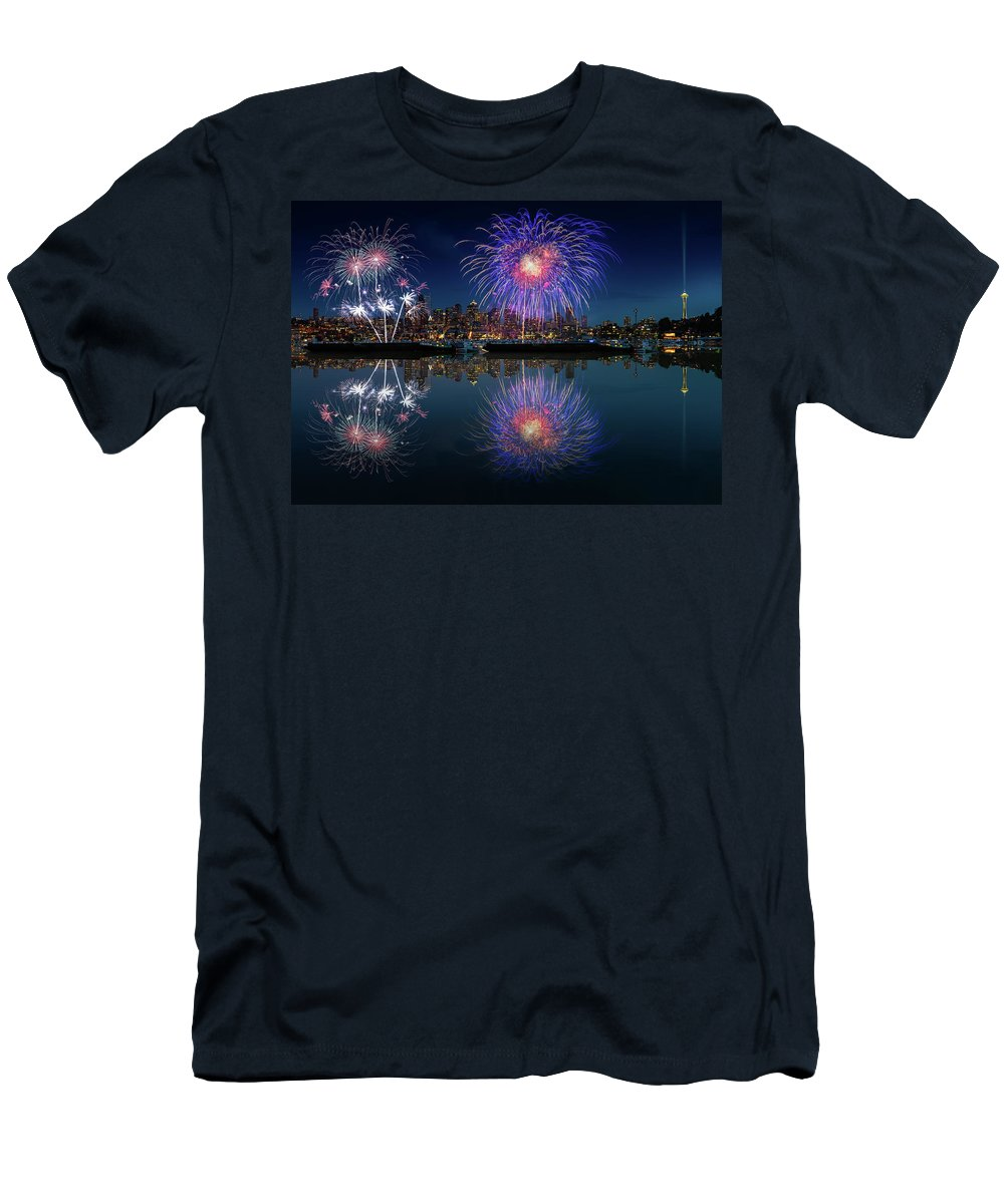 4th Men's T-Shirt (Athletic Fit) featuring the photograph Seattle Skyline And Fireworks by William Freebilly photography