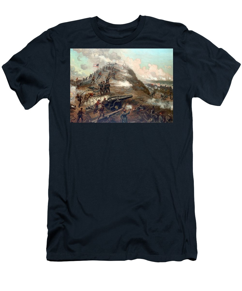Civil War T-Shirt featuring the painting The Capture Of Fort Fisher by War Is Hell Store