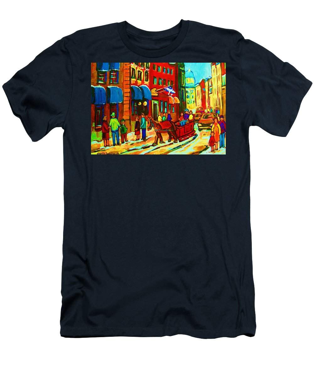 Montreal Men's T-Shirt (Athletic Fit) featuring the painting The Red Sled by Carole Spandau