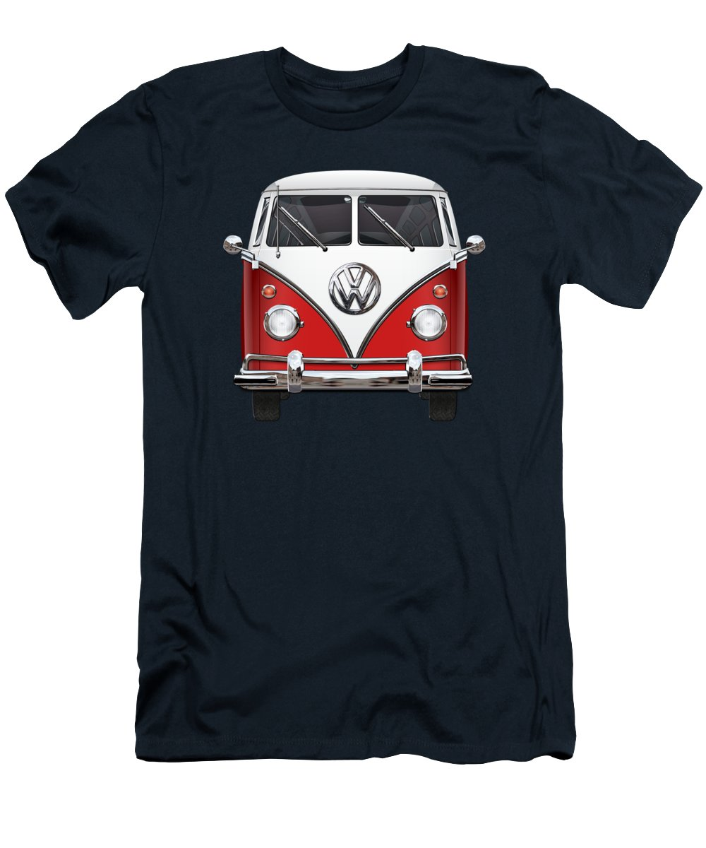 'volkswagen Type 2' Collection By Serge Averbukh Men's T-Shirt (Slim Fit) featuring the photograph Volkswagen Type 2 - Red And White Volkswagen T 1 Samba Bus Over Green Canvas by Serge Averbukh