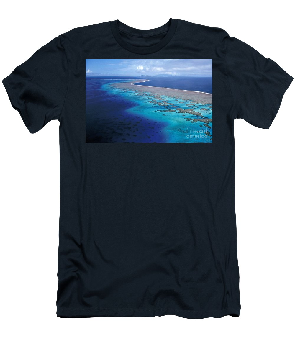 Aerial Men's T-Shirt (Athletic Fit) featuring the photograph Wakaya Island Aerial by Larry Dale Gordon - Printscapes