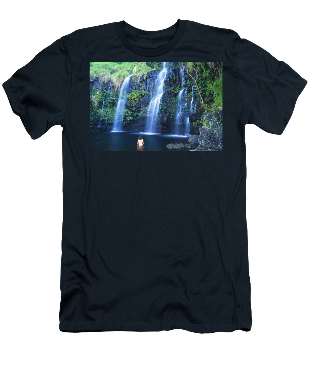 Base Men's T-Shirt (Athletic Fit) featuring the photograph Woman At Waterfall by Dave Fleetham - Printscapes