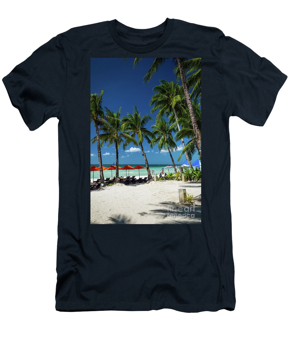 Area Men's T-Shirt (Athletic Fit) featuring the photograph Station 2 Beach Area Of Boracay Tropical Paradise Island Philipp by Jacek Malipan