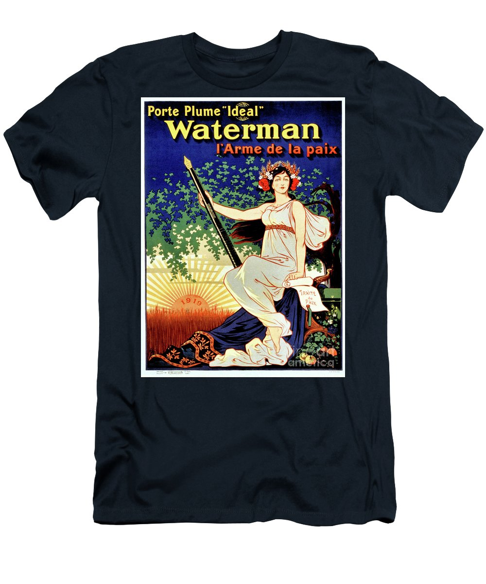 Fountain Pen Men's T-Shirt (Athletic Fit) featuring the drawing 1919 Waterman Fountain Pen by Aapshop