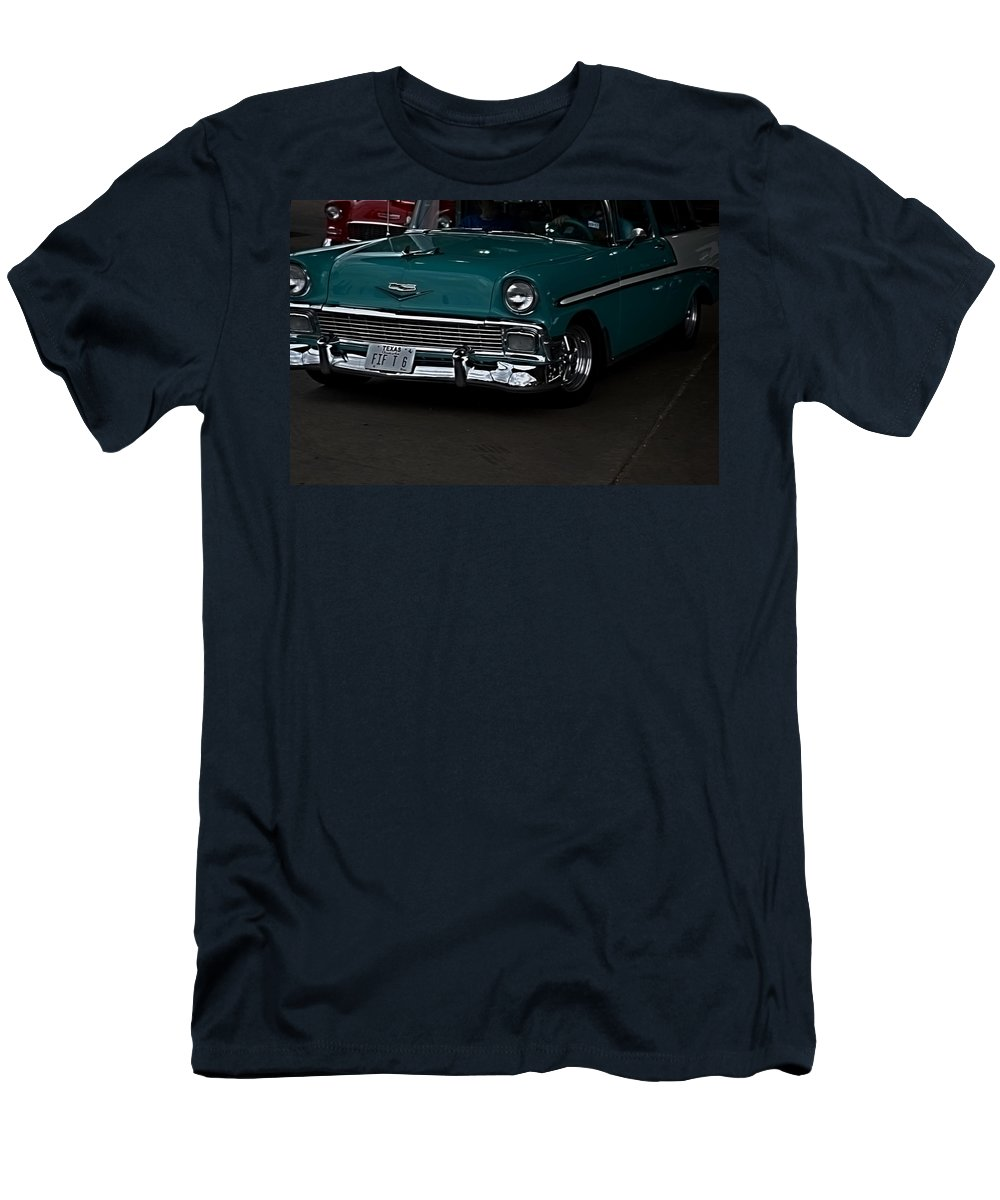 Classic Cars Men's T-Shirt (Athletic Fit) featuring the photograph 1956 Chevy 210 by Diana Mary Sharpton
