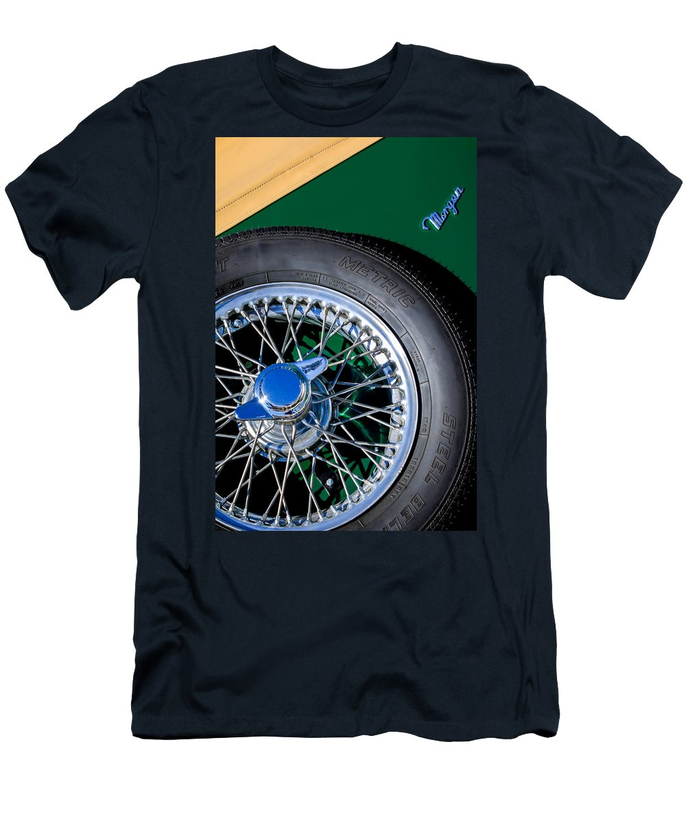 1964 Morgan 44 Spare Tire Emblem Men's T-Shirt (Athletic Fit) featuring the photograph 1964 Morgan 44 Spare Tire by Jill Reger