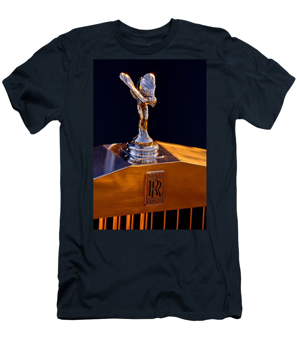 1986 Rolls-royce Men's T-Shirt (Athletic Fit) featuring the photograph 1986 Rolls-royce Hood Ornament by Jill Reger