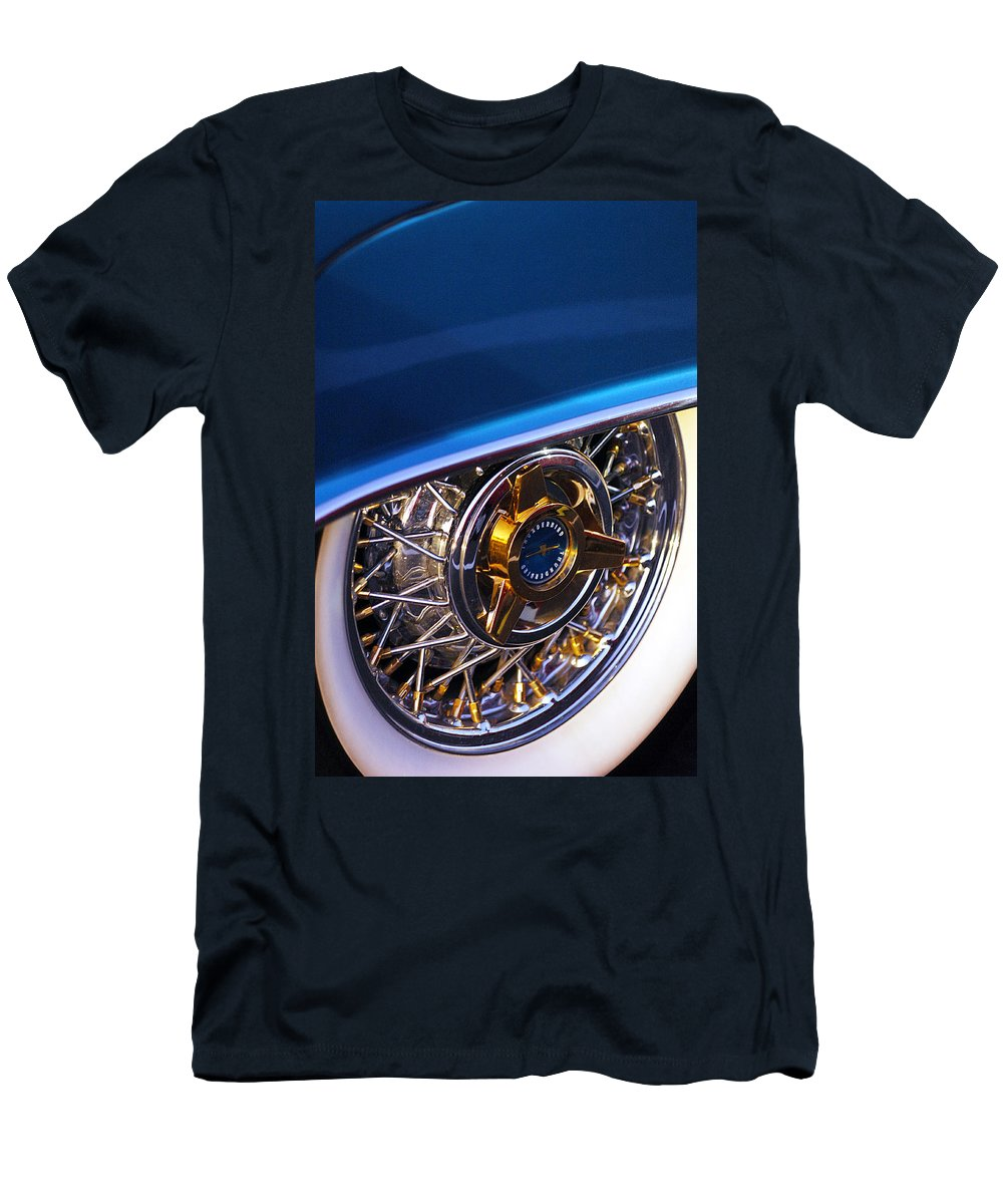 Car Men's T-Shirt (Athletic Fit) featuring the photograph 1957 Ford Thunderbird Wheel by Jill Reger