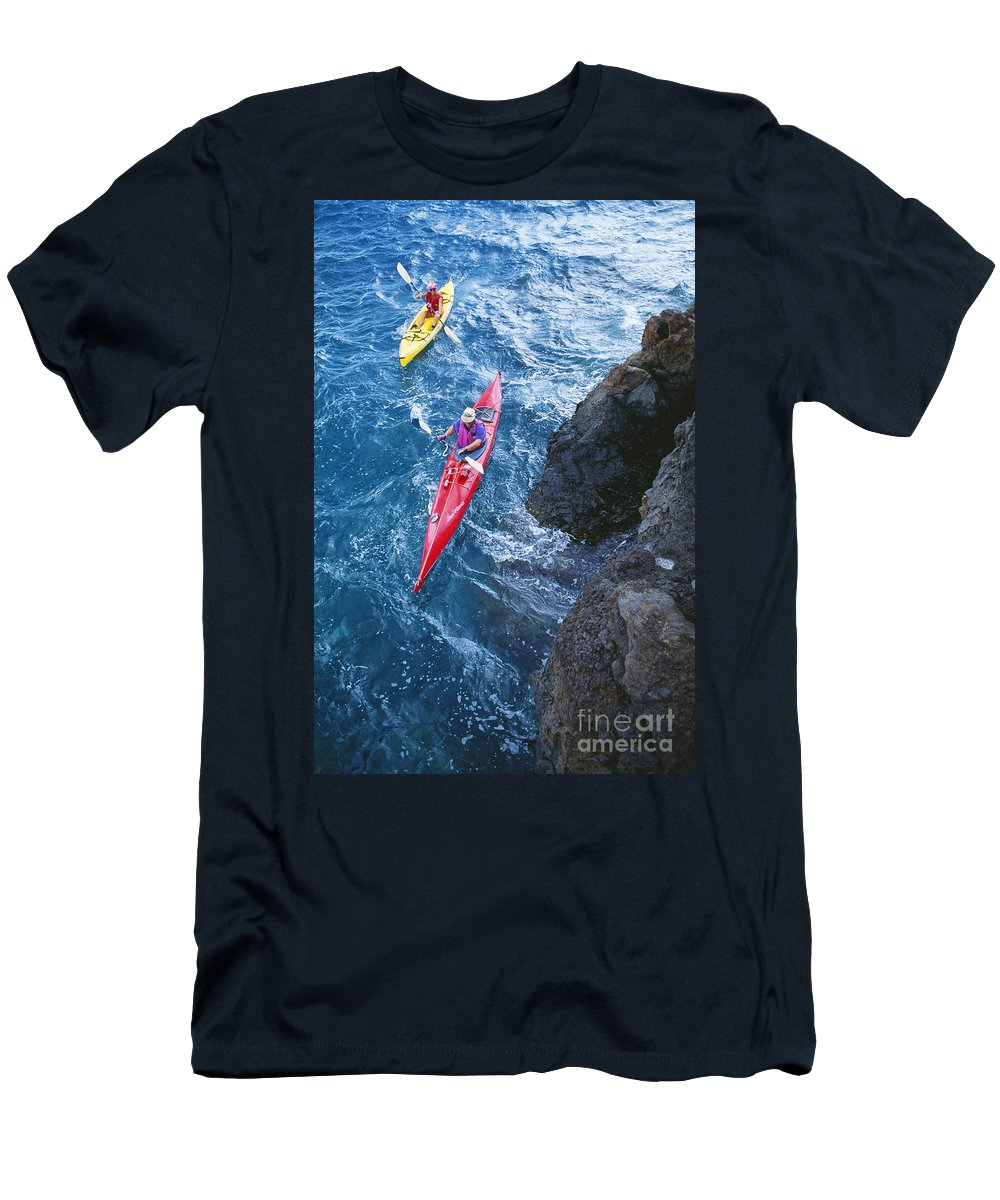 Above Men's T-Shirt (Athletic Fit) featuring the photograph Kayaking Along Coastline by Ron Dahlquist - Printscapes