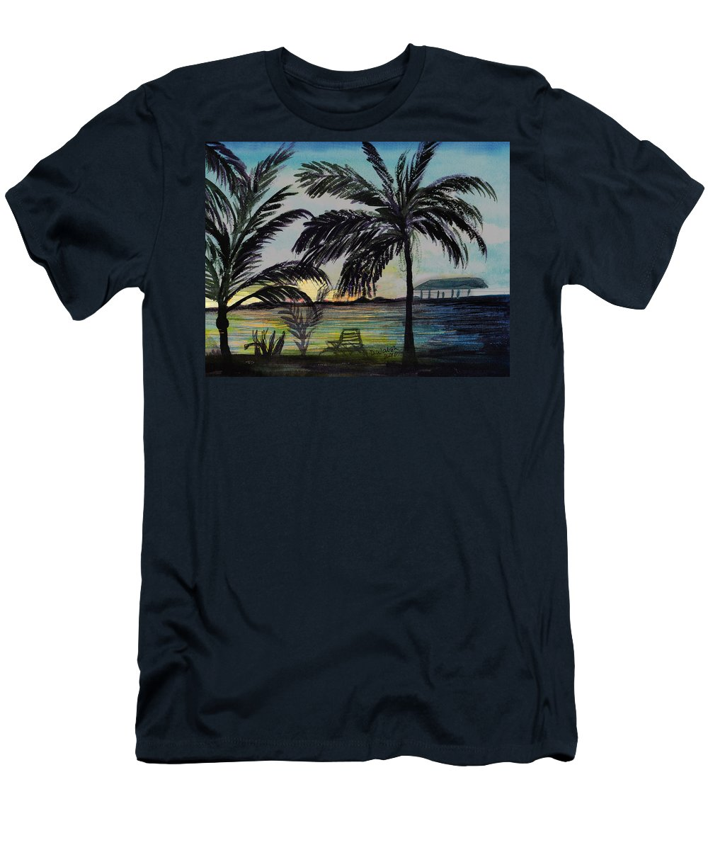 Roatan Men's T-Shirt (Athletic Fit) featuring the painting Roatan Sunset by Donna Walsh